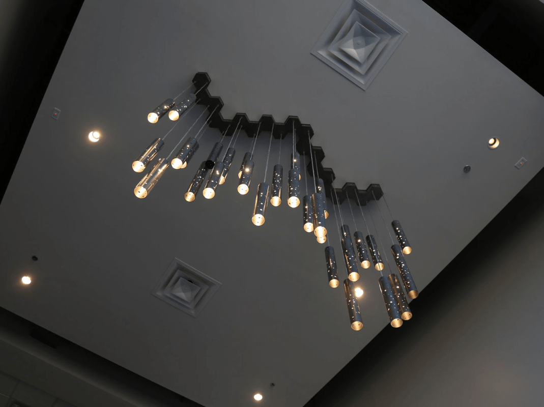 Modern chandalier in dental office