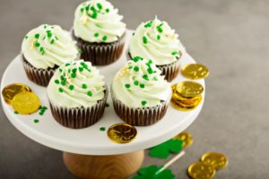 plate of St. Patrick's Day cupcakes